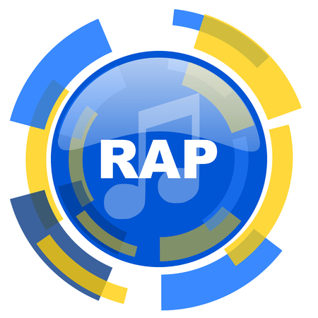 rap music: rap music blue yellow glossy web icon Stock Photo