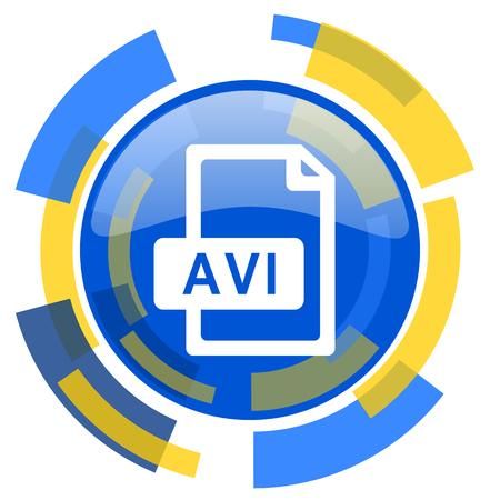 avi: avi file blue yellow glossy web icon Stock Photo