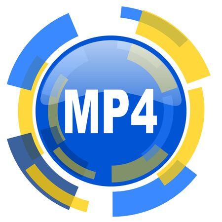 mp4: mp4 blue yellow glossy web icon
