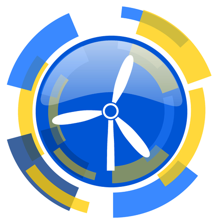 smarthone: windmill blue yellow glossy web icon