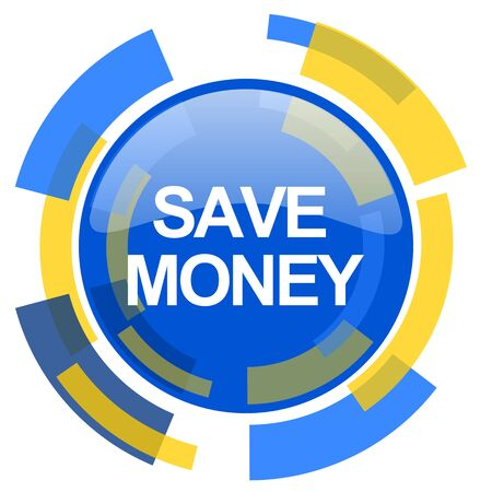 smarthone: save money blue yellow glossy web icon