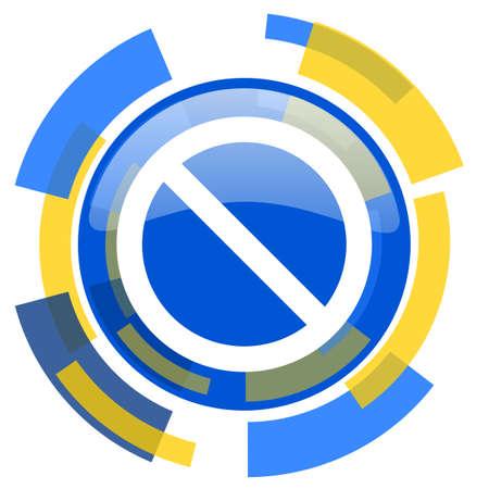 lock block: access denied blue yellow glossy web icon Stock Photo