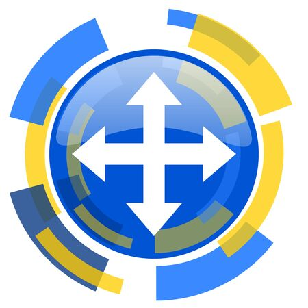 sterring: arrow blue yellow glossy web icon