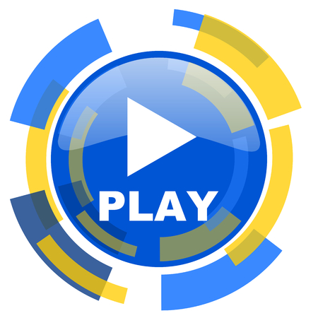 smarthone: play blue yellow glossy web icon Stock Photo