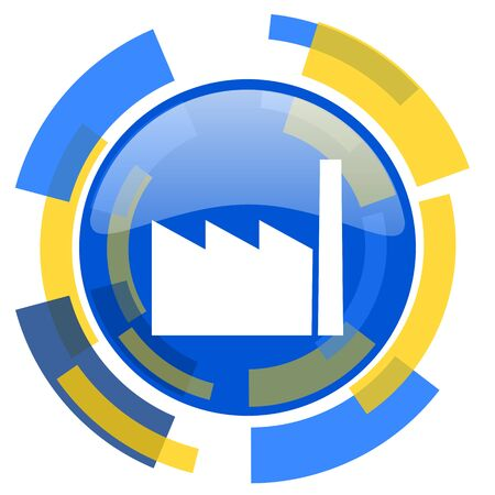 industrialist: factory blue yellow glossy web icon