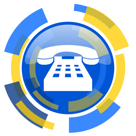 technological and communication: phone blue yellow glossy web icon Stock Photo