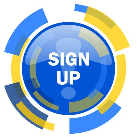smarthone: sign up blue yellow glossy web icon