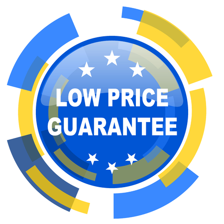 low price: low price guarantee blue yellow glossy web icon Stock Photo