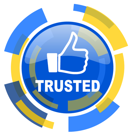 trusted: trusted blue yellow glossy web icon