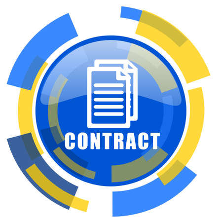 pacto: contratar azul amarillo brillante del icono del Web