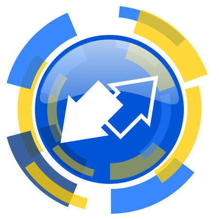 smarthone: exchange blue yellow glossy web icon Stock Photo