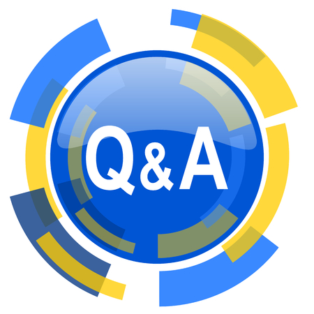 smarthone: question answer blue yellow glossy web icon