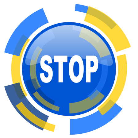 proscribed: stop blue yellow glossy web icon Stock Photo
