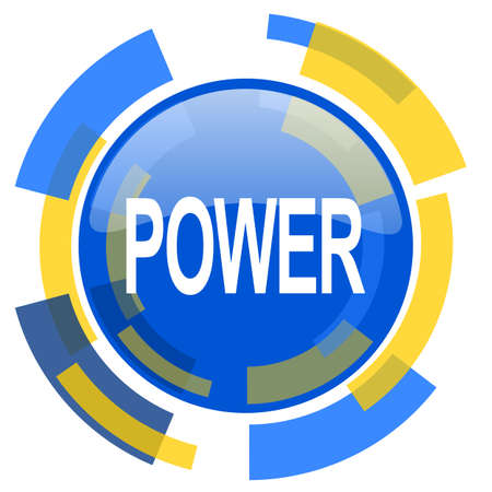 power icon: power blue yellow glossy web icon