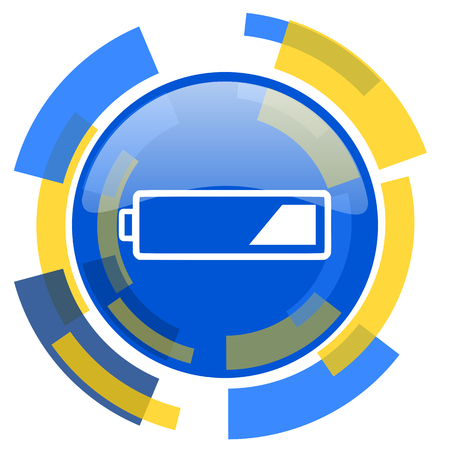 smarthone: battery blue yellow glossy web icon