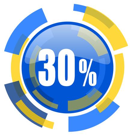 30: 30 percent blue yellow glossy web icon