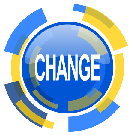 option key: change blue yellow glossy web icon Stock Photo