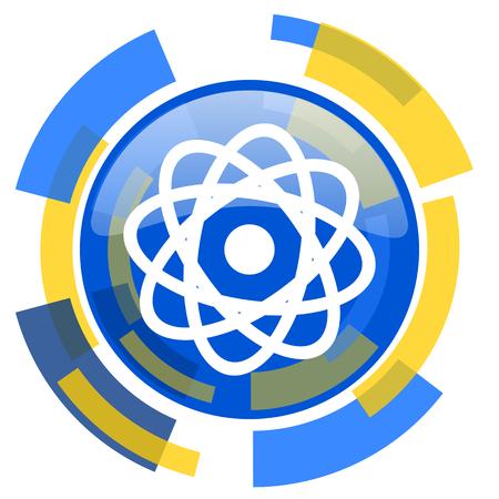 gamma radiation: atom blue yellow glossy web icon Stock Photo