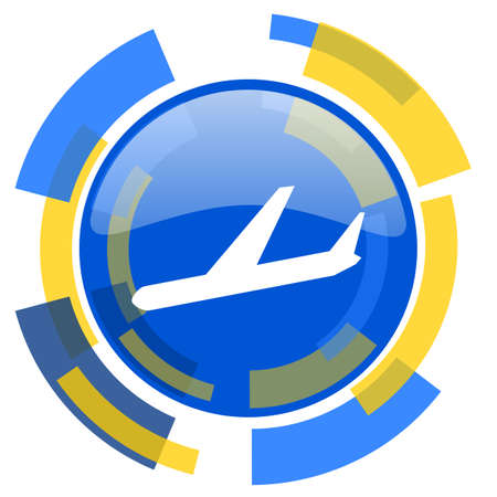 jet plane: arrivals blue yellow glossy web icon