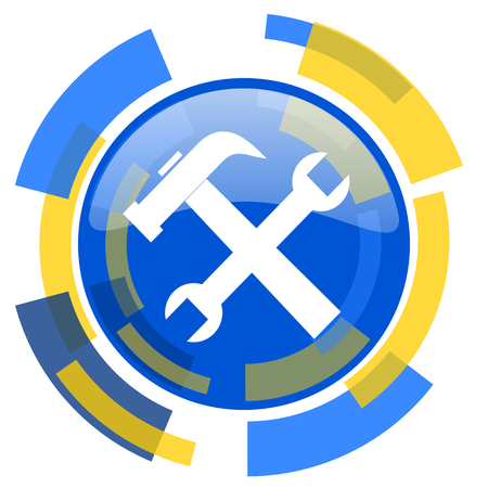 option key: tool blue yellow glossy web icon