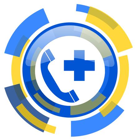 emergency call: emergency call blue yellow glossy web icon Stock Photo