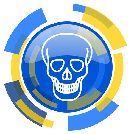 pirating: skull blue yellow glossy web icon