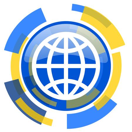 yellow earth: earth blue yellow glossy web icon Stock Photo