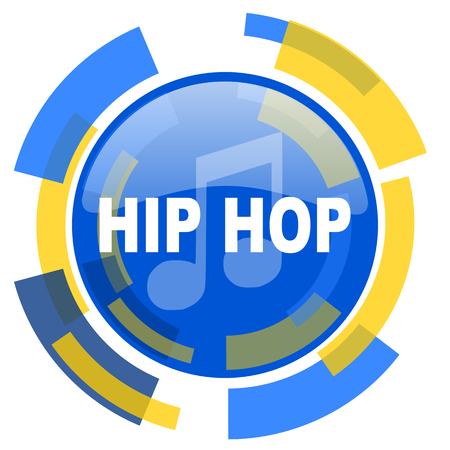 smarthone: hip hop blue yellow glossy web icon Stock Photo
