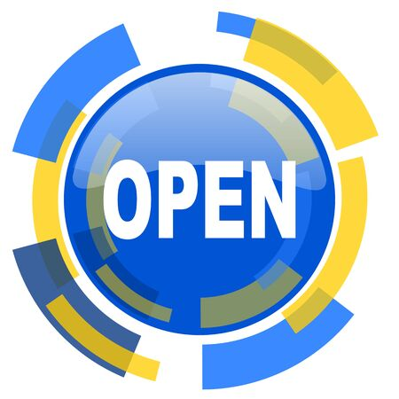 smarthone: open blue yellow glossy web icon
