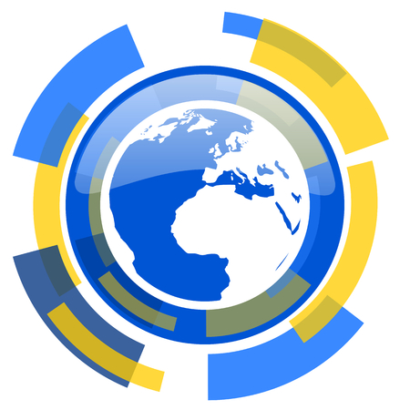 parallel world: earth blue yellow glossy web icon Stock Photo