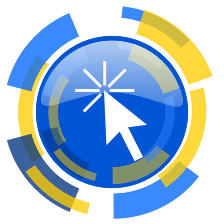 smarthone: click here blue yellow glossy web icon Stock Photo