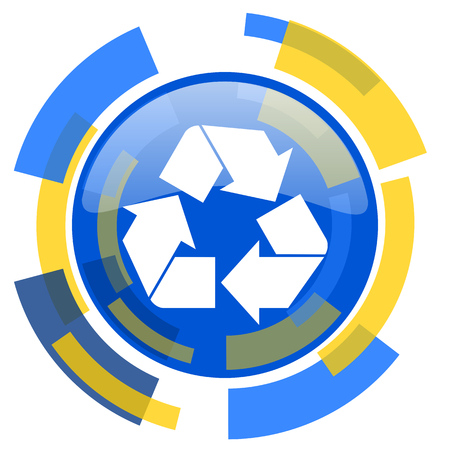 smarthone: recycle blue yellow glossy web icon