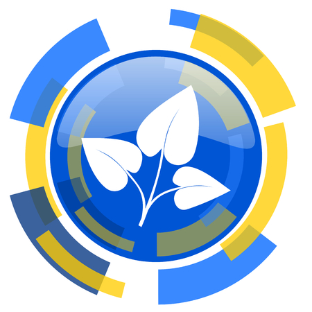 smarthone: leaf blue yellow glossy web icon