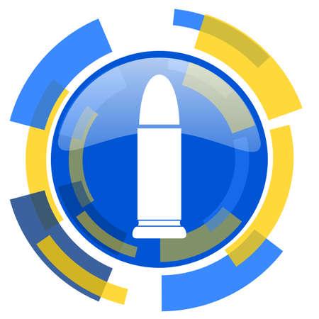 ammunition: ammunition blue yellow glossy web icon Stock Photo