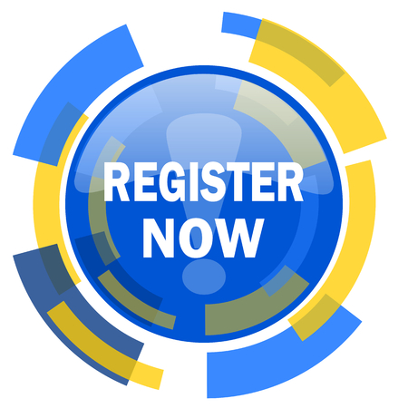 smarthone: register now blue yellow glossy web icon