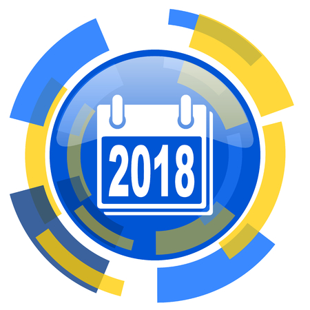 smarthone: new year 2018 blue yellow glossy web icon