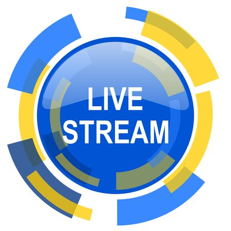 smarthone: live stream blue yellow glossy web icon