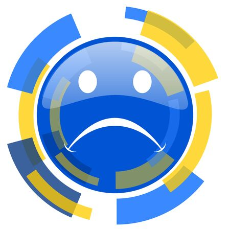 cry blue yellow glossy web icon Stock Photo