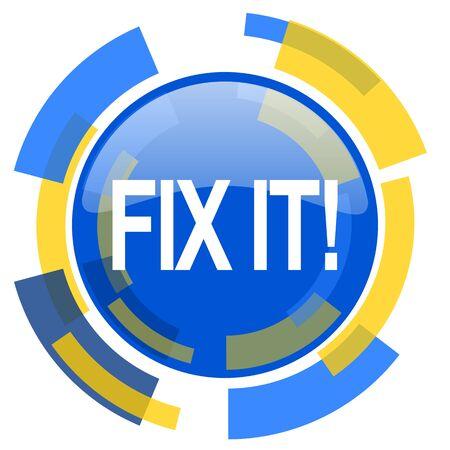 it: fix it blue yellow glossy web icon Stock Photo