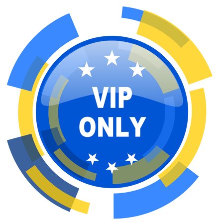 only: vip only blue yellow glossy web icon