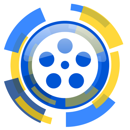film strip: film blue yellow glossy web icon Stock Photo