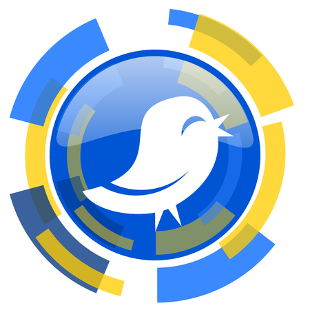 twitter: twitter blue yellow glossy web icon Stock Photo