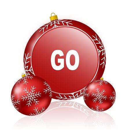 proceed: go christmas icon Stock Photo