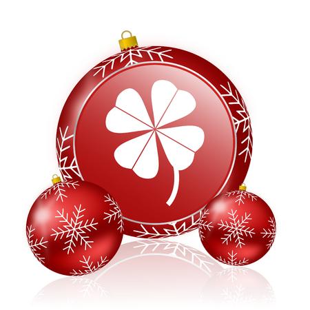 fourleaf: four-leaf clover christmas icon Stock Photo