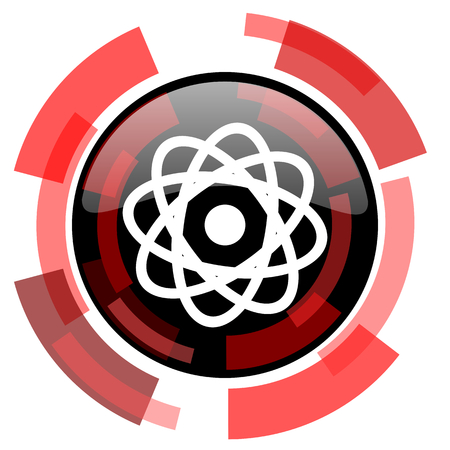 gamma radiation: atom red modern web icon