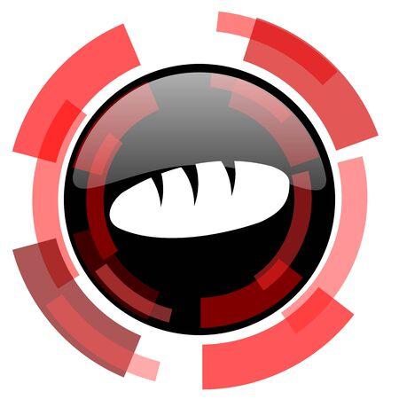 crusty: bread red modern web icon