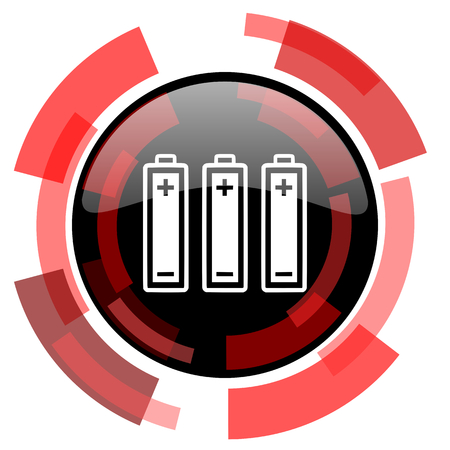 accuse: battery red modern web icon Stock Photo