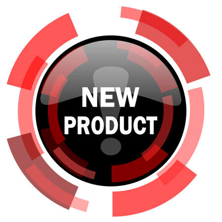 new product: new product red modern web icon Stock Photo
