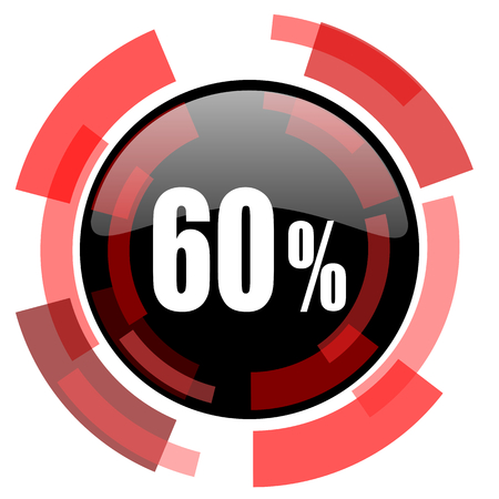60: 60 percent red modern web icon