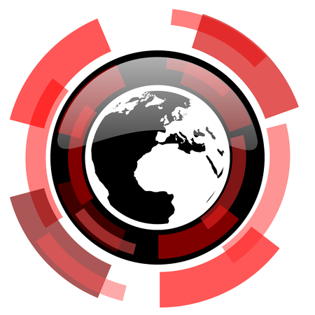 meridians: earth red modern web icon